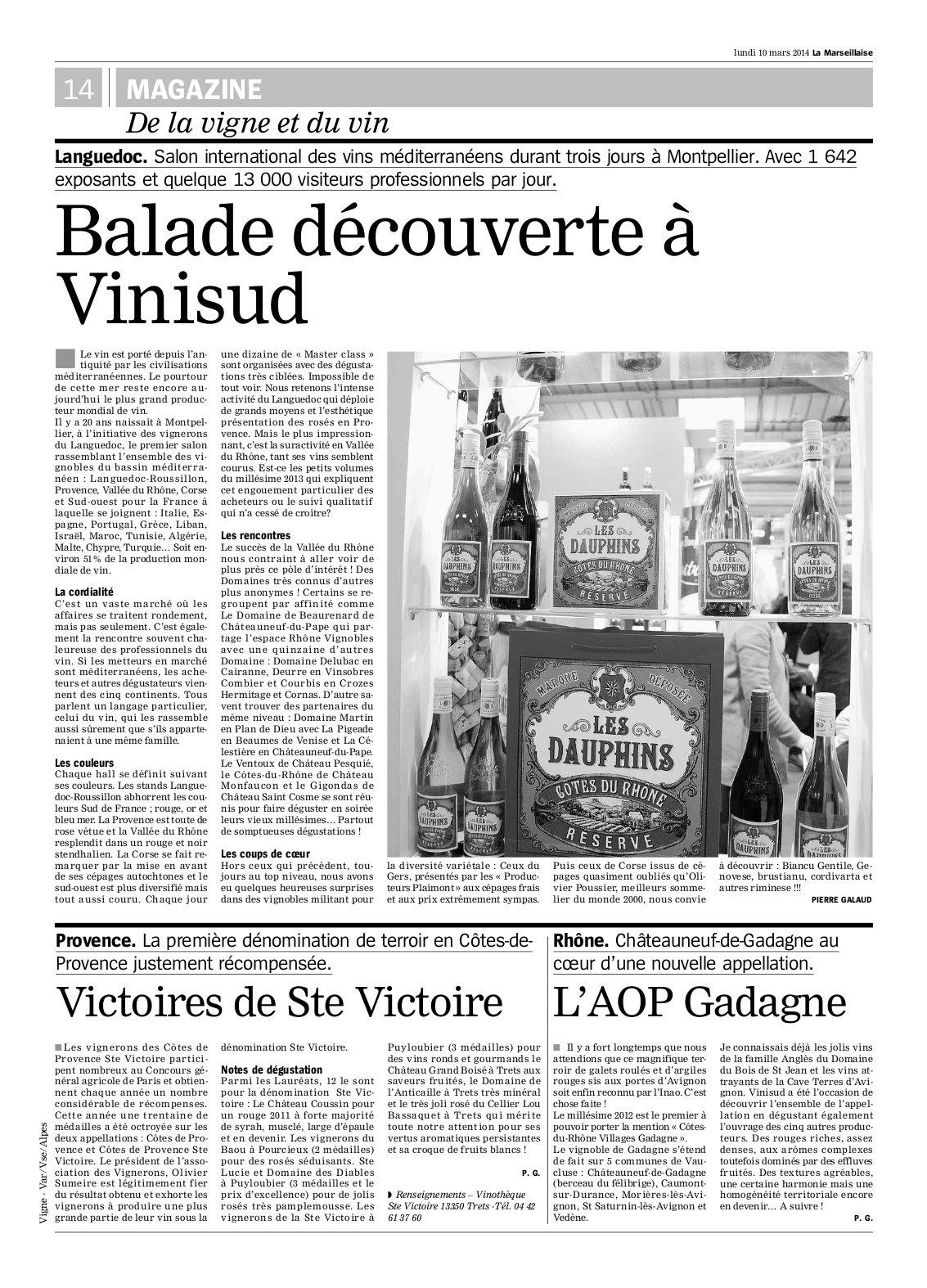 Article Gadagne La Marseillaise 2014