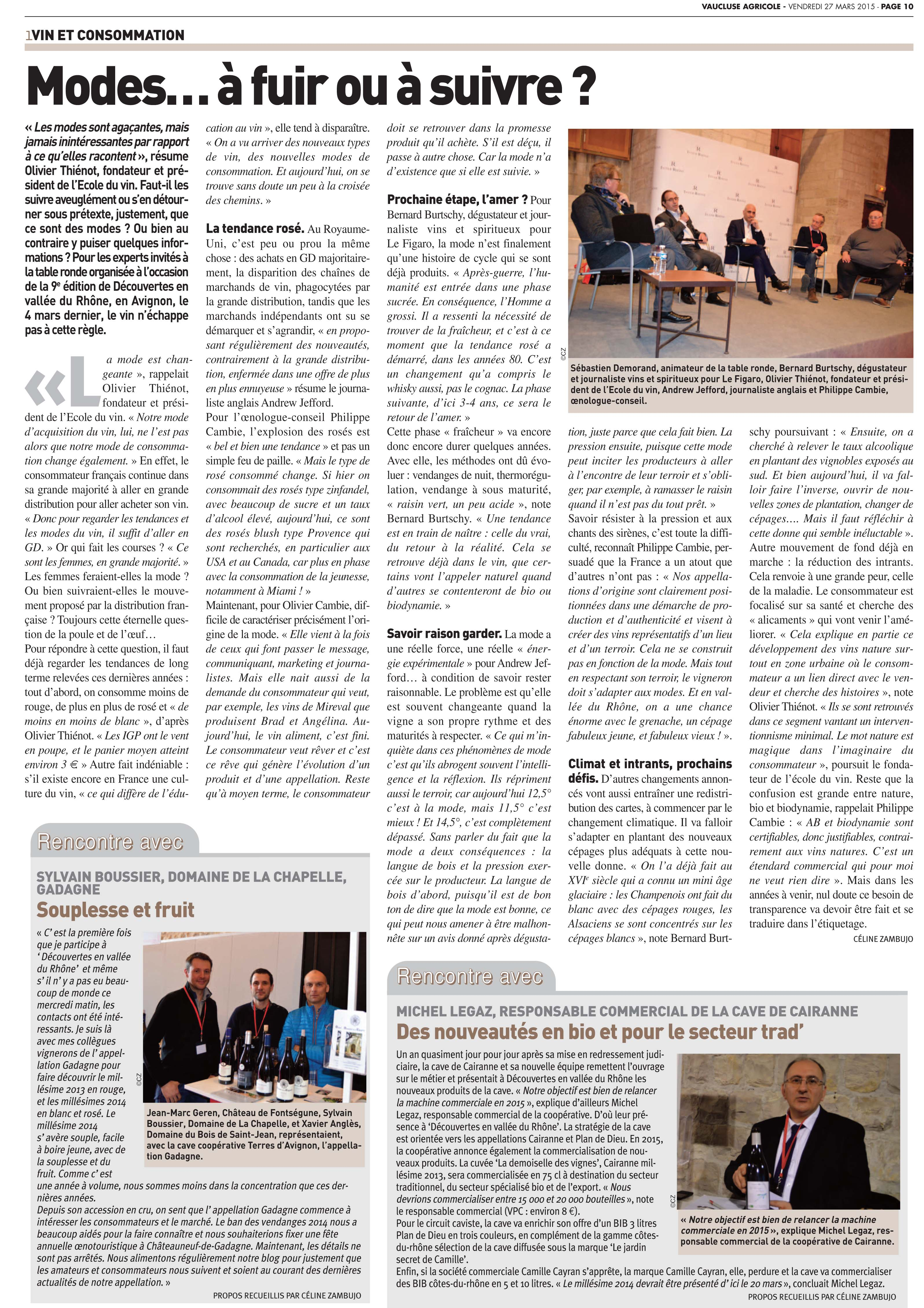 Article Vaucluse Agricole 2015